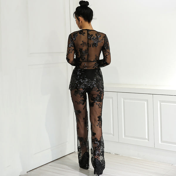 Sheer Mesh Sequin Jumpsuit Two Piece Set - 2 Colors Available