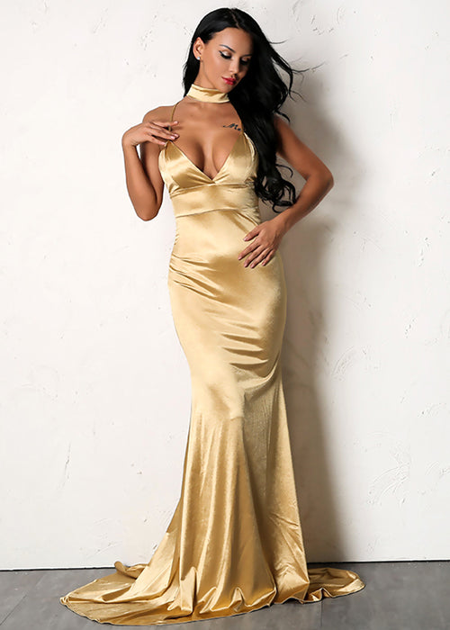 Yellow Gold Satin Mermaid Maxi Dress - 3 Colors Available