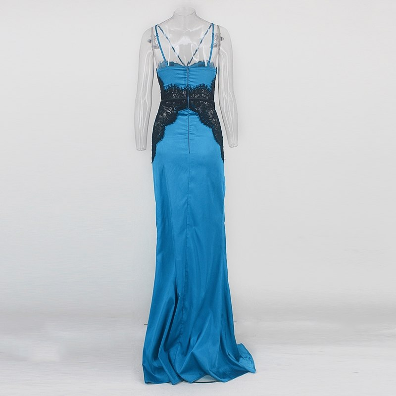 Blue Satin Lace Mermaid Gown