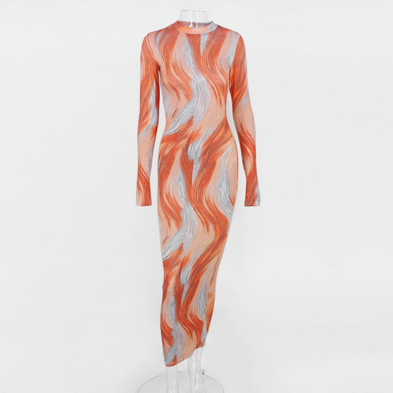 Kylie Jenner Swirl Print Bodycon Maxi Dress