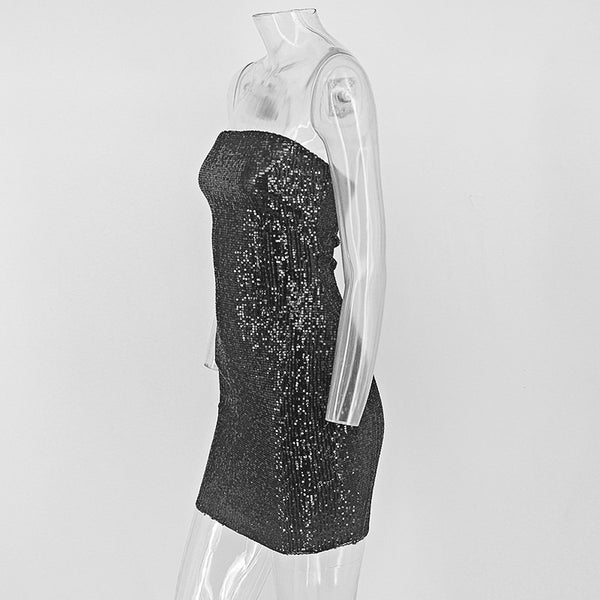 Strapless Sequin Tube Dress - 3 Colors Available