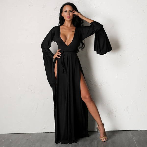 Long Sleeve Double Slit Maxi Dress - 2 Colors Available