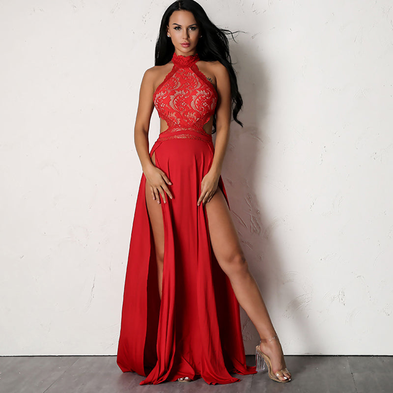 e391c4069e Red Lace Halter Maxi Dress - 2 Colors Available – Lust for Body