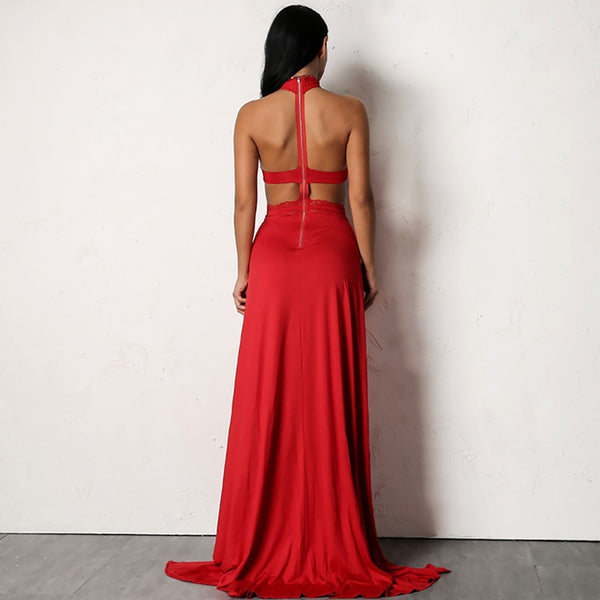 Red Lace Halter Maxi Dress - 2 Colors Available