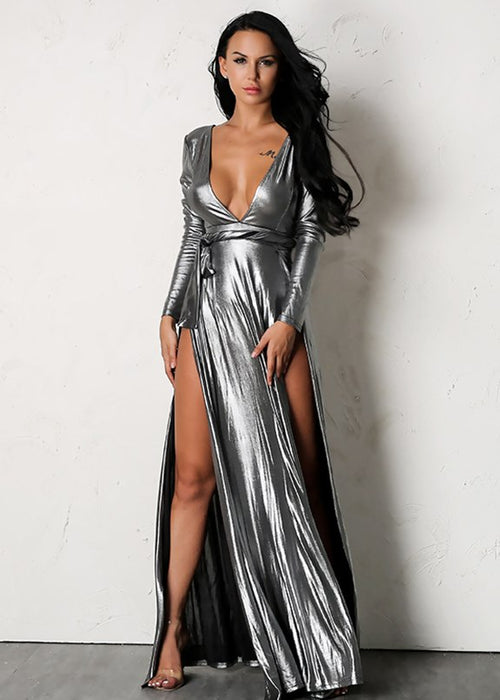 Metallic Double Slit Maxi Dress - 2 Colors Available