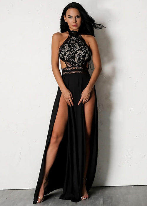 Black Lace Halter Maxi Dress - 2 Colors Available