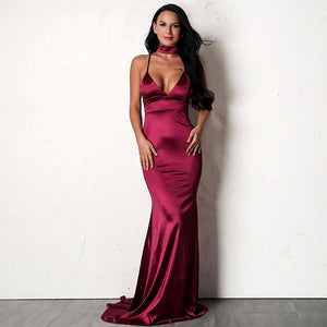Red Satin Mermaid Maxi Dress - 3 Colors Available