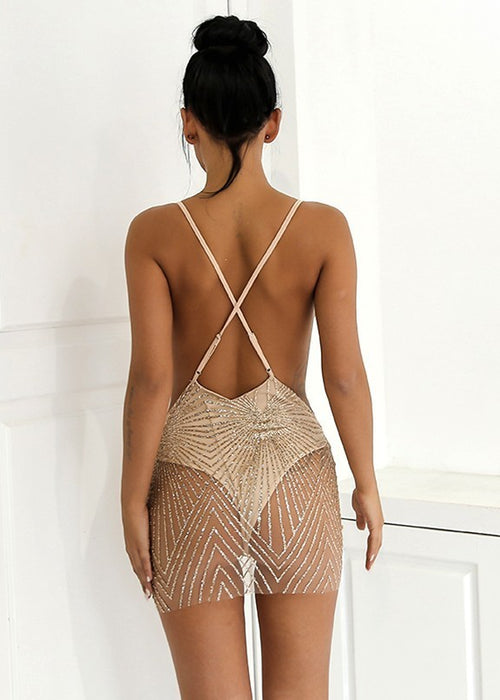Sheer Backless Sequin Mini Dress - 4 Colors Available