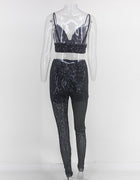 Sequin Crop Top Two Piece Jumpsuit Set - 2 Colors Available