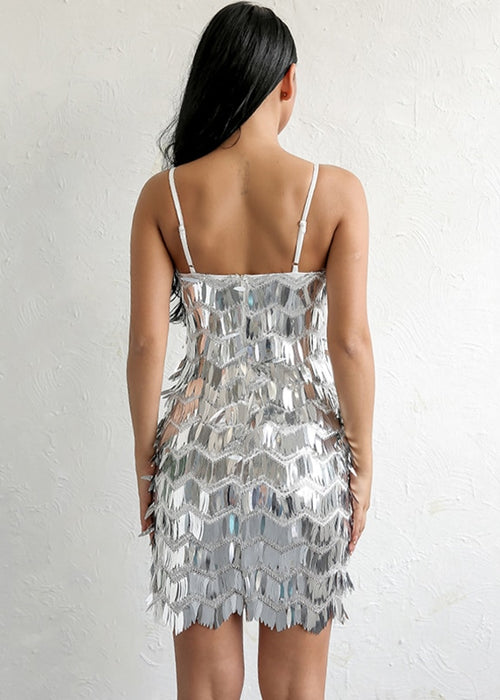 Silver Fringe Sequin Dress - 2 Colors Available