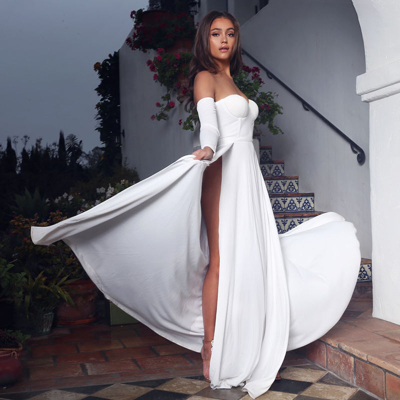 Off The Shoulder Double Slit Maxi Dress - 2 Colors Available