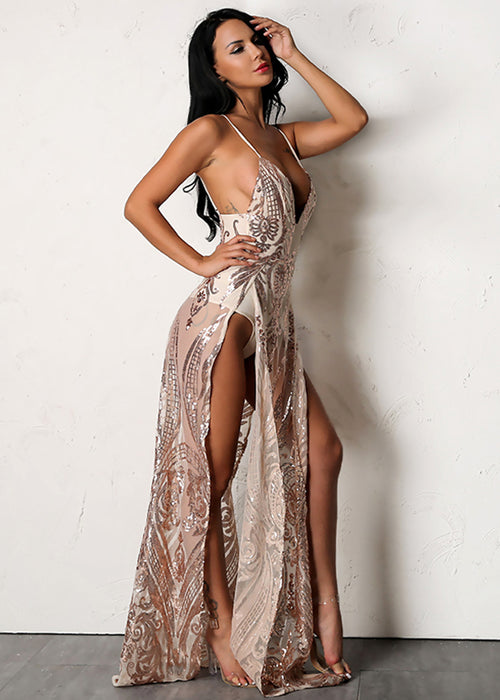Rose Gold Sequin Maxi Dress