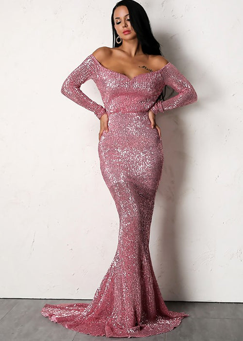 Sequin Off The Shoulder Maxi Dress - 4 Colors Available