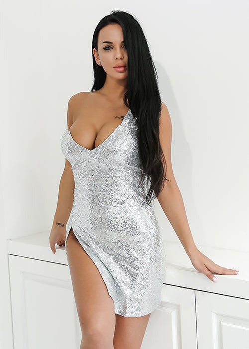 Silver One Shoulder Sequin Mini Dress
