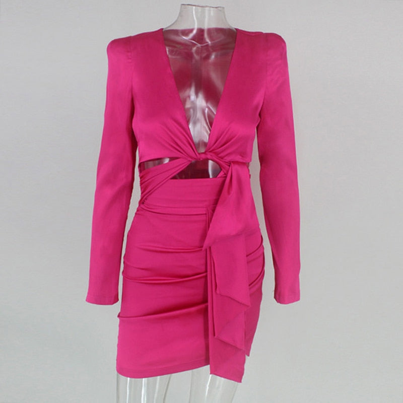 Kylie Jenner Inspired Satin Mini Dress in FUSCHIA