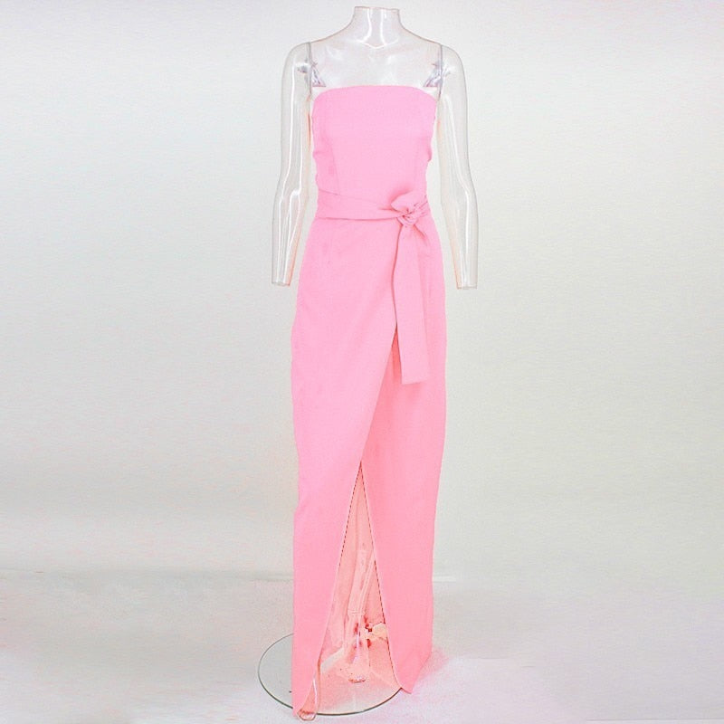 Ankle-Length Front Split Dress in PINK