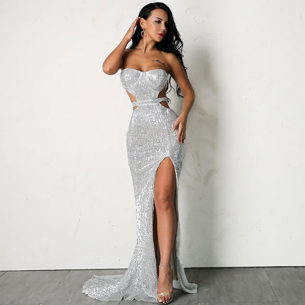 High Slit Cutout Sequin Dress in SILVER
