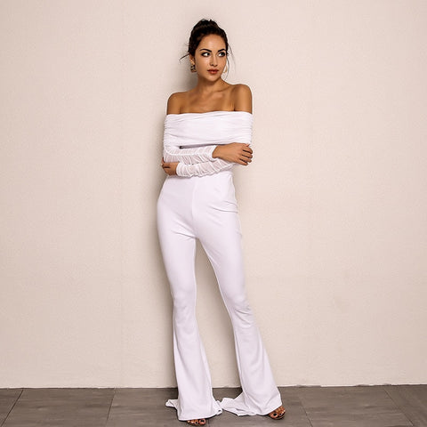Kendal Jenner Inspired Off Shoulder Jumpsuit in WHITE