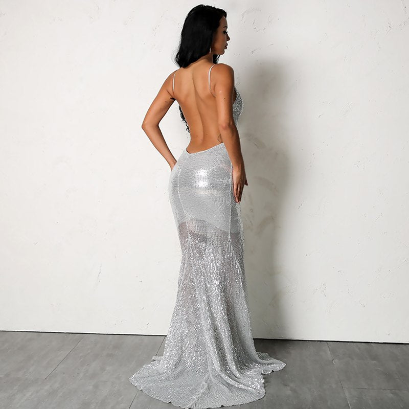 Sparkly Mermaid Hem Dress in SILVER
