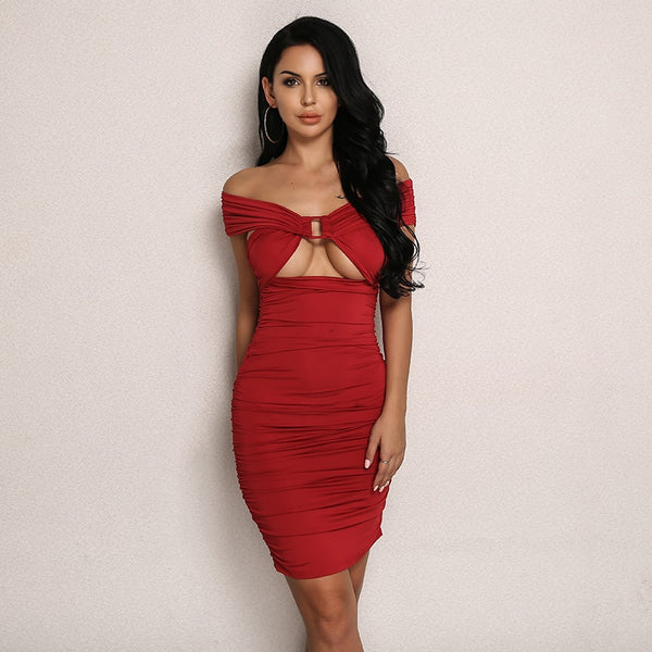 Off Shoulder Underboob Cutout Bandage Dress