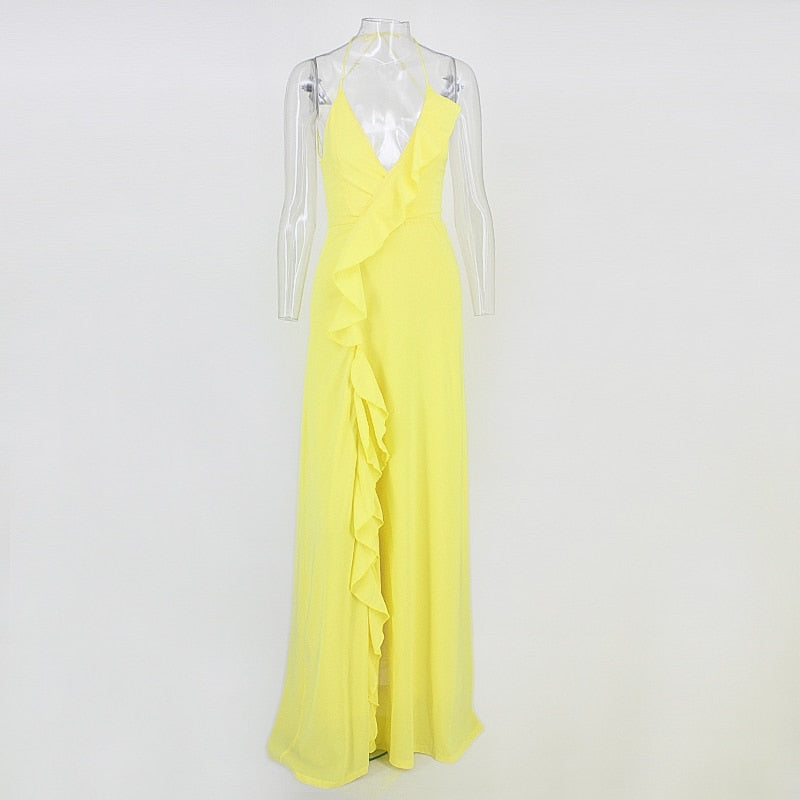 Cascading Ruffle Dress with Side Thigh Slit in YELLOW