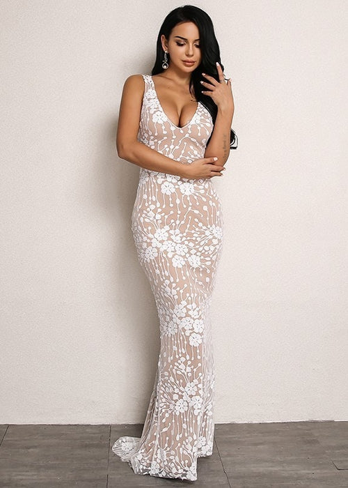 Floor Length Sequin Mesh Overlay Dress