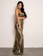 Floor Length Metallic Gold Dress
