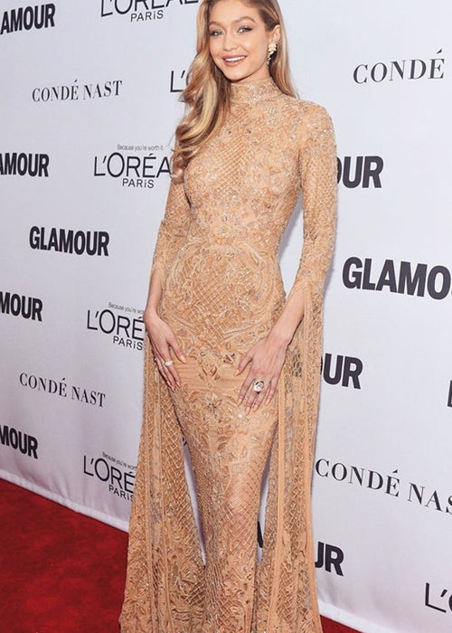 Gigi Hadid Inspired Sequin Lace Overlay Dress in GOLD