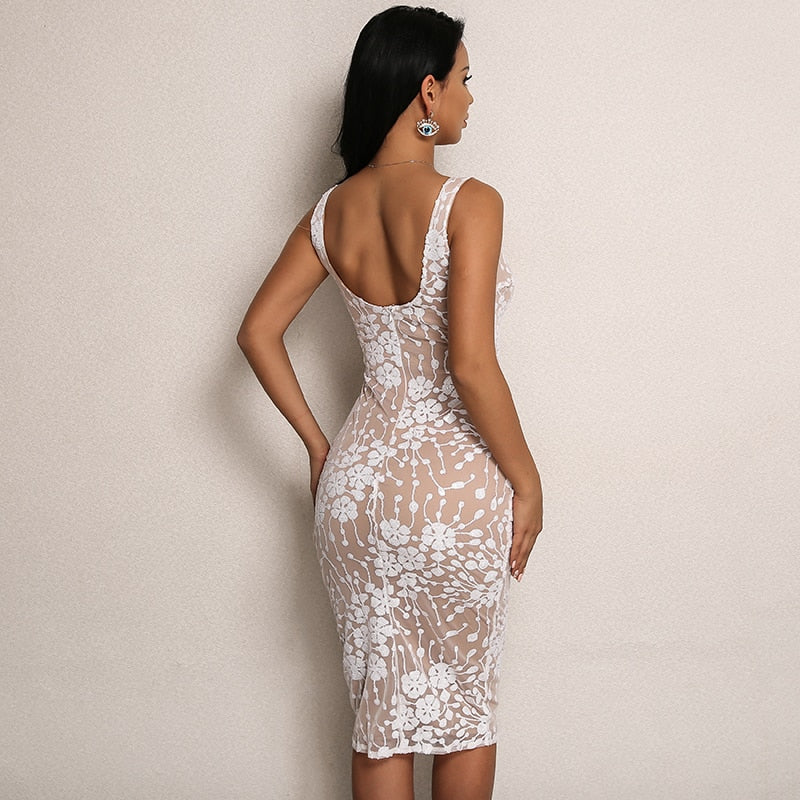 Sequin Mesh Overlay Bodycon Dress