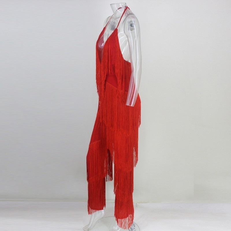 Plunging Neckline Fringed Jumpsuit in RED