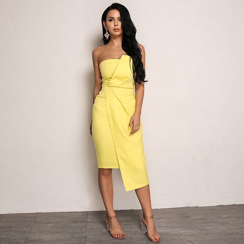 Asymmetrical Midi Dress in YELLOW