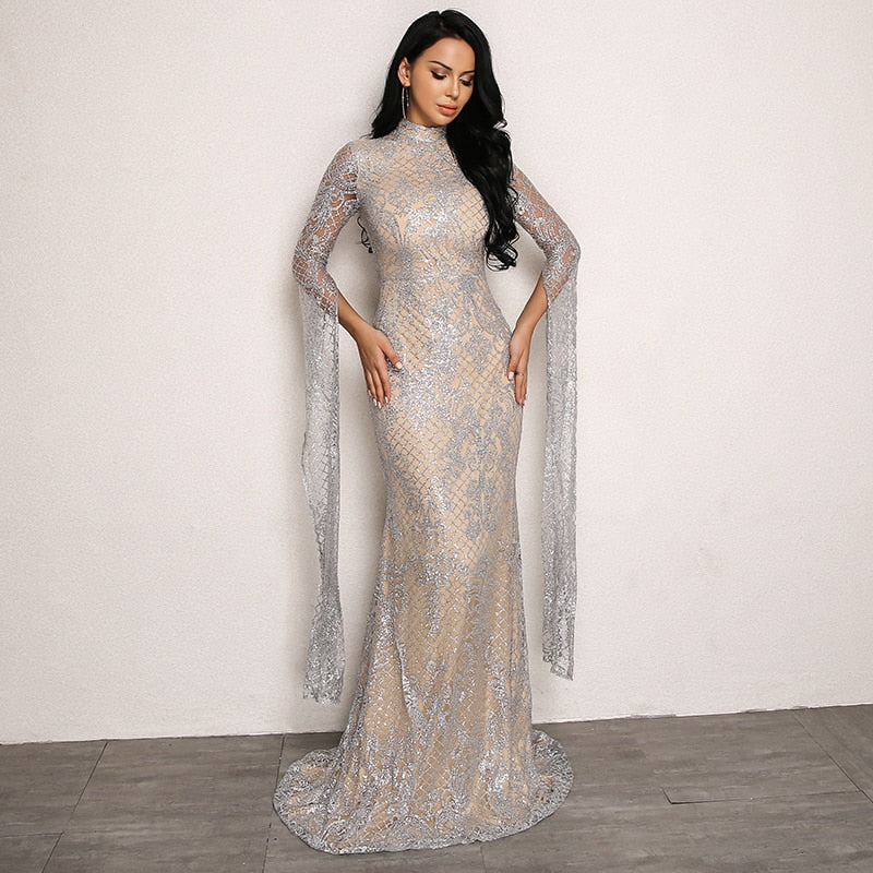 Gigi Hadid Inspired Sequin Lace Overlay Dress in SILVER