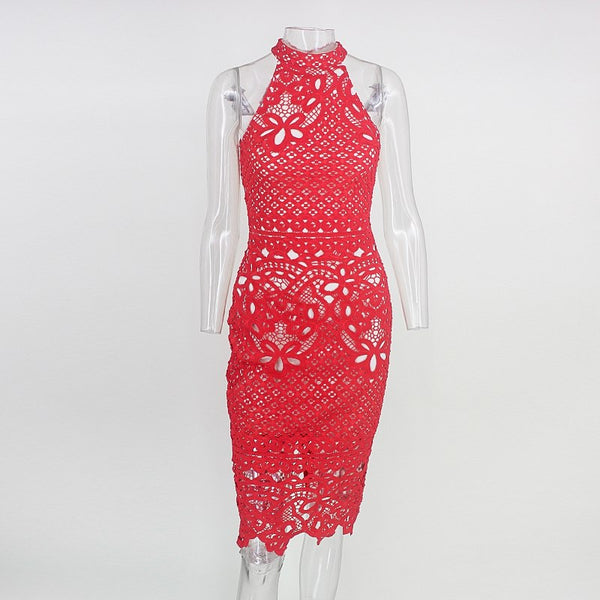 Lace Halter Bodycon Dress in RED