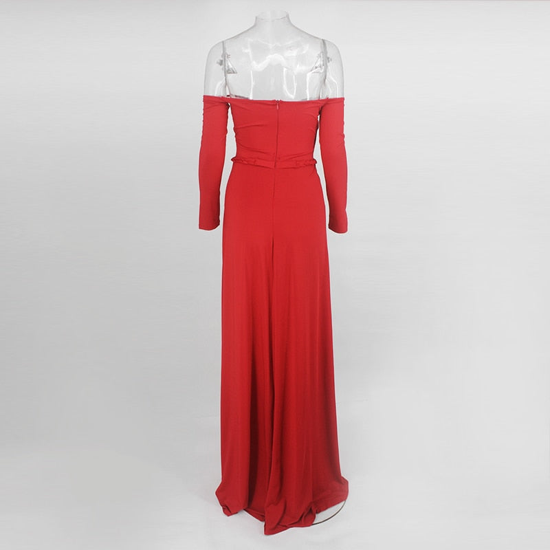 Double Slit Off the Shoulder Floor Length Dress in RED