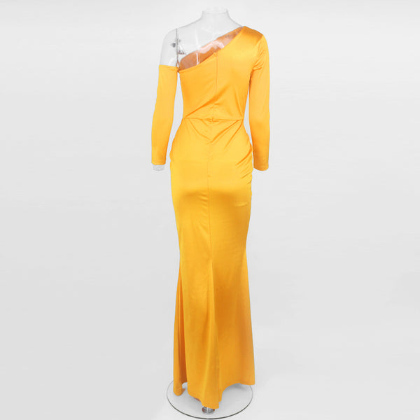 One-Sleeve Off-Shoulder Bodycon Dress with Slit in YELLOW