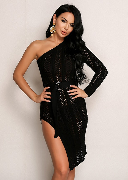 One-Shoulder Knitted Dress with Slit in BLACK