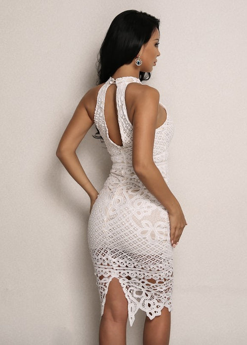 Lace Halter Bodycon Dress in WHITE