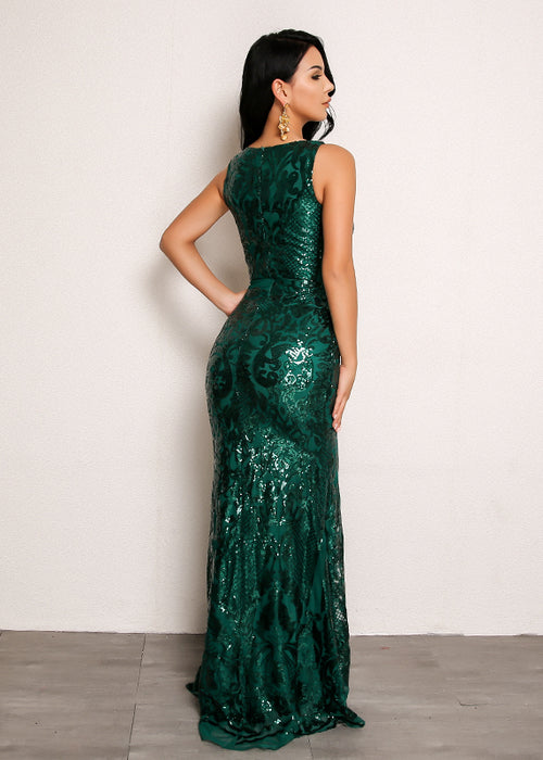 Sequin Mermaid Dress in GREEN