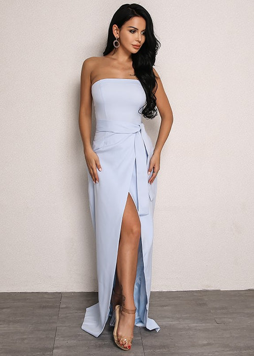 Ankle-Length Front Split Dress in BLUE