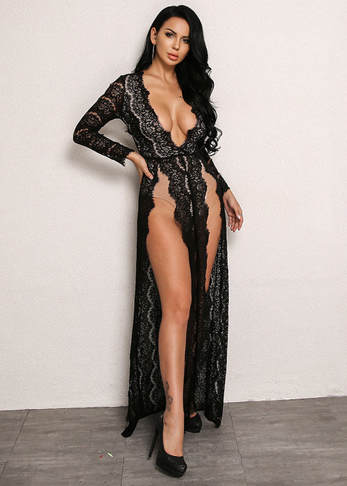 Double Sky-High Slit Lace Dress in BLACK