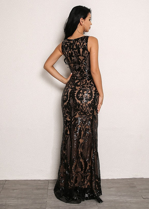 Lace Overlay Mermaid Hem Dress in BLACK