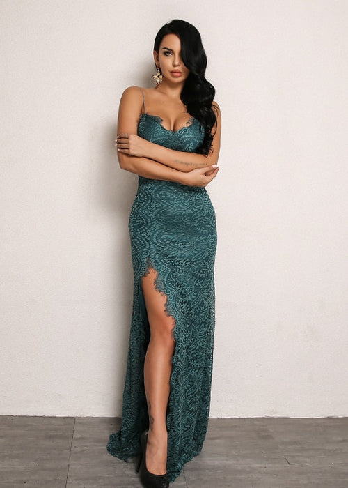 Lace Overlay Bodycon Dress with Thigh High Slit in GREEN