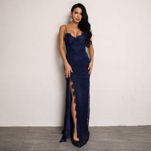 Lace Overlay Bodycon Dress with Thigh High Slit in BLUE
