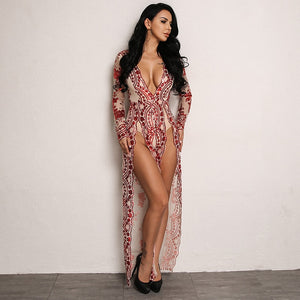 Lace Overlay Jumpsuit with Sky High Slit in RED