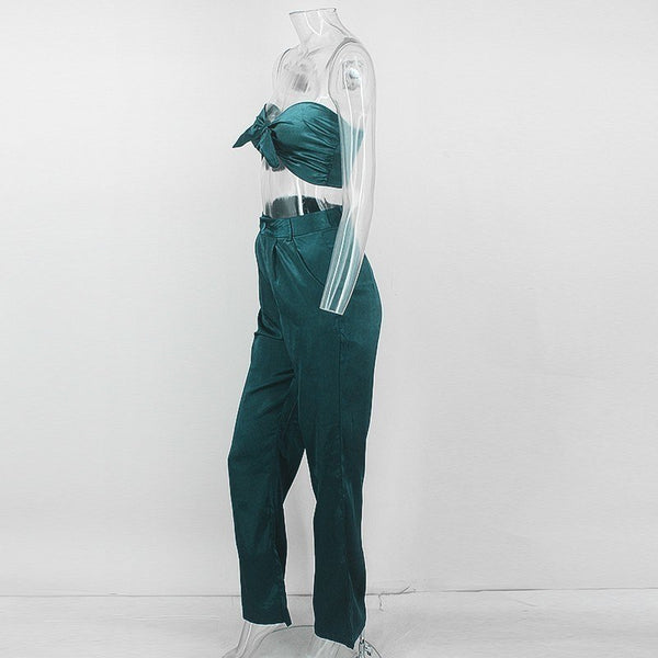 Bow Front Crop Top and Pants Set in GREEN