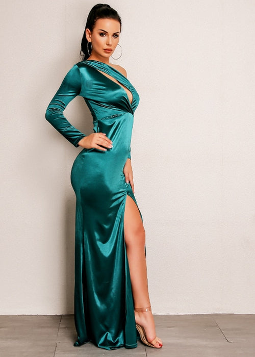 One-Sleeve Off-Shoulder Bodycon Dress with Slit in GREEN