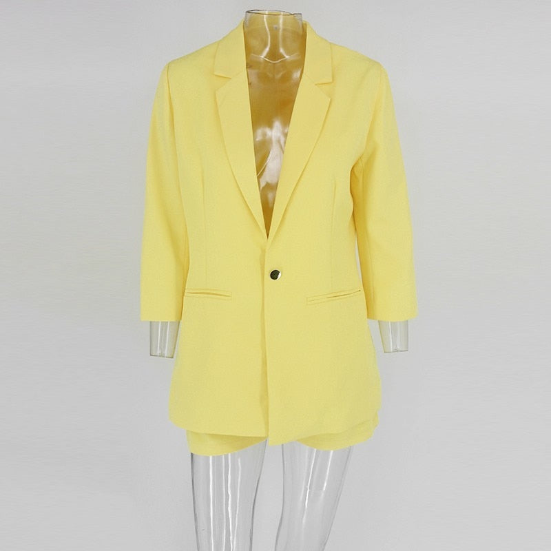2-piece Blazer Suit and Short Set in YELLOW