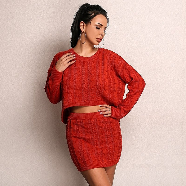 Long Sleeve Knit Crop Top and Skirt Set in RED