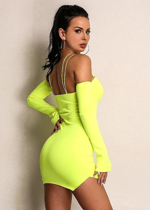Off Shoulder Crisscross Straps Bodycon Dress
