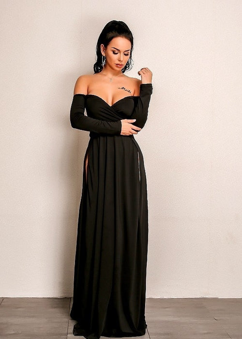 Double Slit Off the Shoulder Floor Length Dress in BLACK